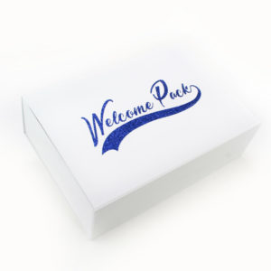 Personalisation boite welcome pack paillette bleu