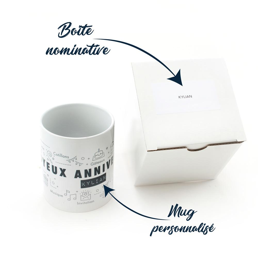 Birtday pack mug nominatif et boite personnalisé