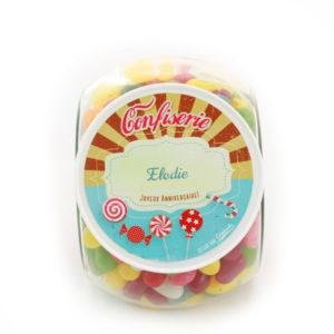 Bonbonniere à bonbons avec couvercle personnalisé au prénom