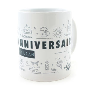 Mug anniversaire céramique personnalisé nominatif